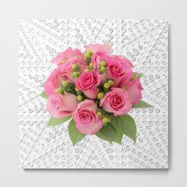 Pink Rose Silver Mandala Metal Print