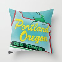portland Throw Pillows featuring Portland by Casey Baggz