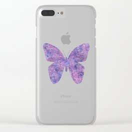 Purple and faux silver swirls doodles Clear iPhone Case