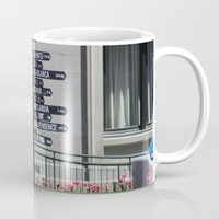 portlandia Mugs featuring What direction is ... ? by Sathya B