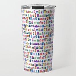 Colorful Neighbors Illustration (White) Travel Mug