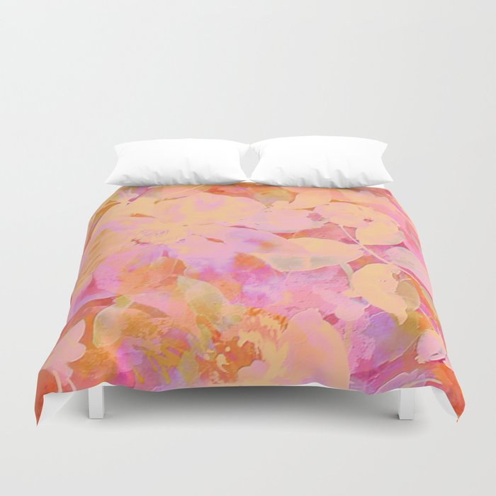 orange and peach floral Duvet Cover