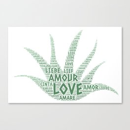 Alove Vera Plant illustrated with Love Word of different languages Canvas Print