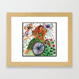 Persephone in Her Garden Framed Art Print