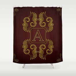 Letter A Seahorse Shower Curtain