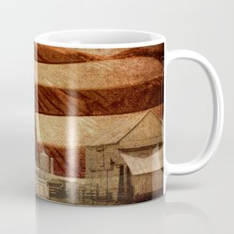 Rustic Barn Americana Heartland Farmhouse Country Flag Decor Art A463 Coffee Mug