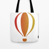 hot air balloon Tote Bags featuring Hot, hot air balloon by SPLEJS