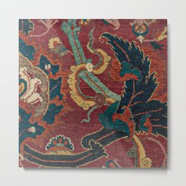 Flowery Arabic Rug III // 17th Century Colorful Plum Red Light Teal Sapphire Navy Blue Ornate Patter Metal Print