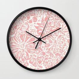 Marigold Lino Cut, Rose Pink Wall Clock