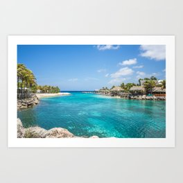 Blue water lake with huts and palm trees around Art Print