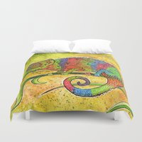 chameleon Duvet Covers featuring Chameleon  by Georgia Roberts