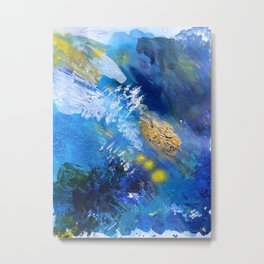 Abstract Textured Seascape Painting Metal Print