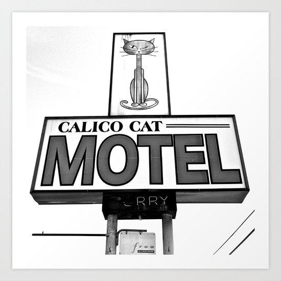 Cool cat motel Art Print