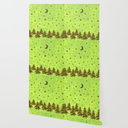 Sparkly Christmas tree, stars, moon on abstract green paper Wallpaper