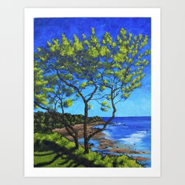 The Bluff on Cape Cod - by Mike Kraus - art trees beach atlantic ocean water vacation swimming waves Art Print