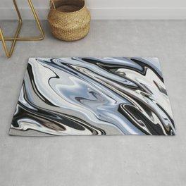 Grey and Black Ebru Marbling Effect Abstract Rug