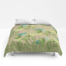 Botanical with Henna Border Comforters