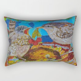 Two Birds In Colorful Nest With Quotes About Wrens Rectangular Pillow