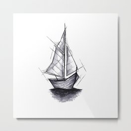 Sailboat Handmade Drawing, Art Sketch, Barca a Vela, Illustration Metal Print