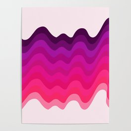 Retro Ripple in Pinks Poster