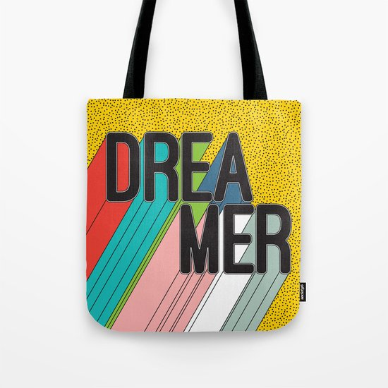Dreamer Typography Color Poster Dream Imagine Tote Bag