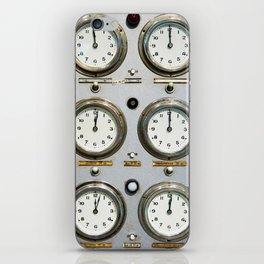 Retro clock faces on control panel iPhone Skin