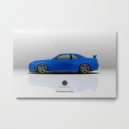 R34 Nissan Skyling GTR Bayside Blue Metal Print