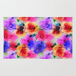 Colorful abstract modern roses flowers pattern Rug