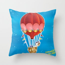 Goodnight Unicorn Balloon Kid Throw Pillow
