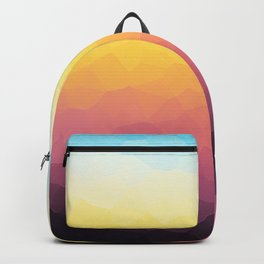 Low-Poly Mountain Sunset Backpack
