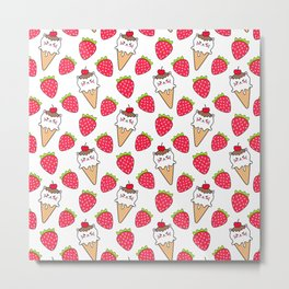 Cute funny sweet adorable little baby kitten ice cream cones with sprinkles and red ripe summer strawberries cartoon white pattern design Metal Print