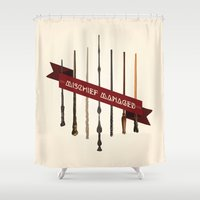 marauders Shower Curtains featuring Mischief Managed by Dorothy Leigh
