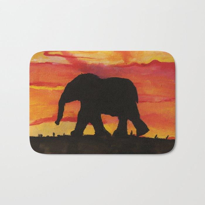 Baby Elephant Sunset Landscape Bath Mat