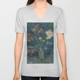 Vincent Van Gogh - Small Bottle with Peonies and Blue Delphiniums Unisex V-Neck