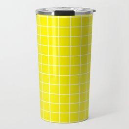 Cadmium yellow - yellow color - White Lines Grid Pattern Travel Mug