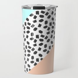 Mint & Orange Color Blocks & Black Brushstrokes Travel Mug