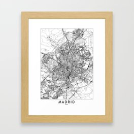 Madrid White Map Framed Art Print