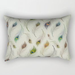 Colorful Peacock Feather Pattern Rectangular Pillow