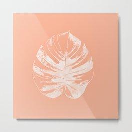 Orange Monstera Leaf Metal Print