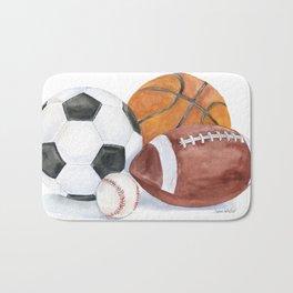 Sports Balls Watercolor Painting Bath Mat
