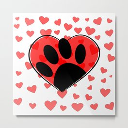 Dog Lover Hearts All Over Metal Print