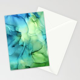 Blue Green Spring Marble Abstract Ink Painting Stationery Cards