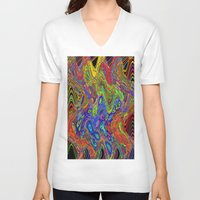 psychedelic V-neck T-shirts featuring Psychedelic by Frankie Cat