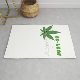Be leaf In Yourself Cute Leaf Pun Rug