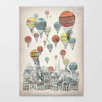 white Canvas Prints featuring Voyages over Edinburgh by David Fleck