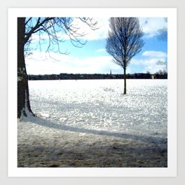 Snow on the Stray Harrogate  Art Print