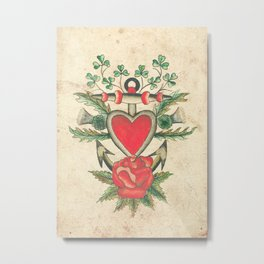 Vintage Tattoo Design with an Anchor and Heart Metal Print