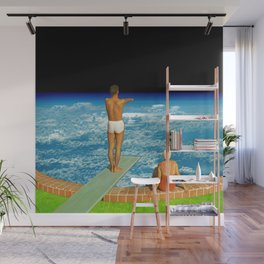 Jump in clouds Wall Mural