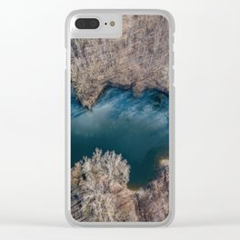 Frozen pond aerial view. Spring landscape from drone. Clear iPhone Case