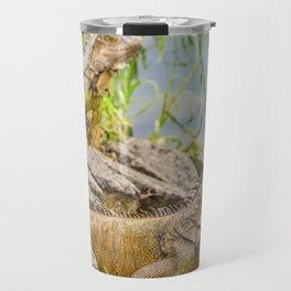 Iguanas at Shore of River Travel Mug